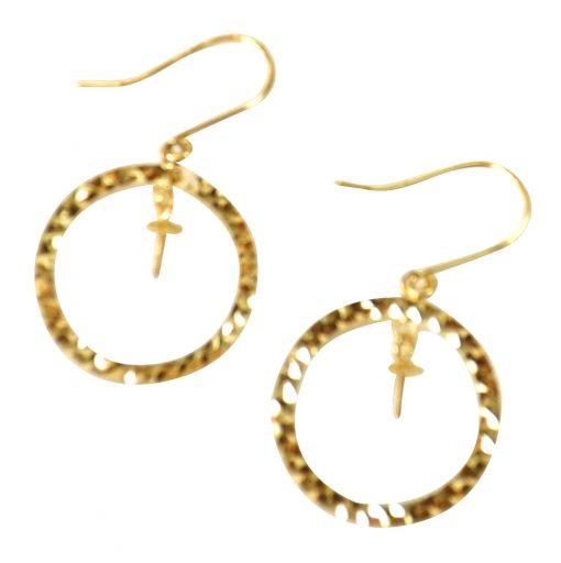 18k yellow gold pearl earrings setting