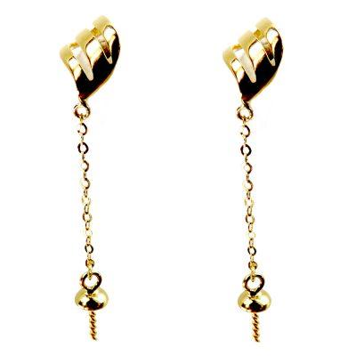 3 leaf 18kyg pearl earrings settings