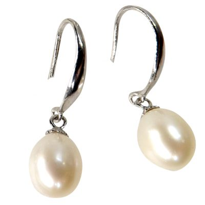 925 Sterling Silver Pearl Dangling Earrings