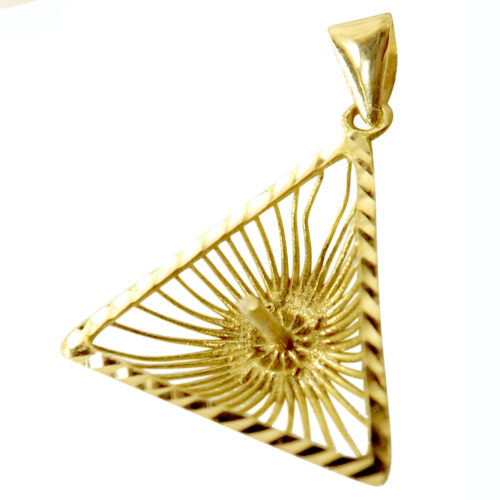 triangle 18k yellow gold pearl pendant setting
