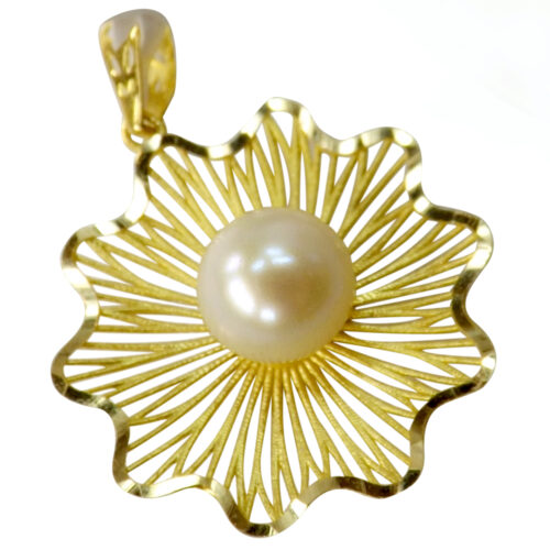 18k yellow gold white pearl pendant