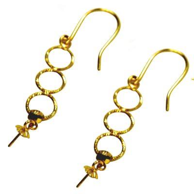 18k yellow gold 3 circle dangling pearl earrings setting
