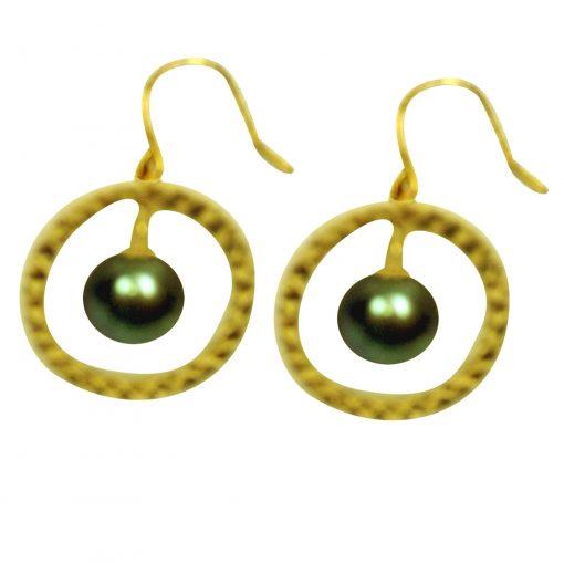 18K Yellow gold black pearl earrings