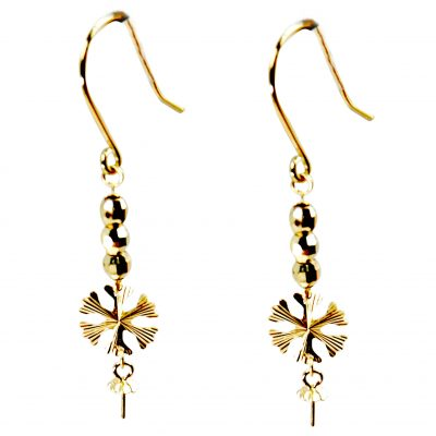 leaf dangling 18kg pearl earrings settings