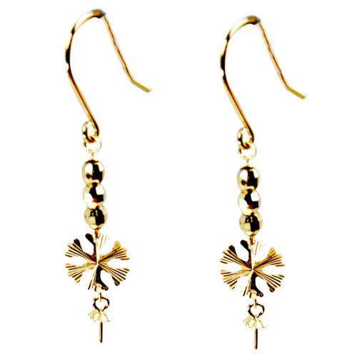 leaf dangling 18kg pearl earrings settings
