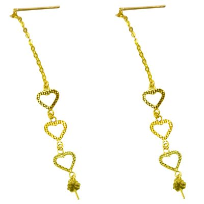 18k yellow gold pearl earrings etting 3 hearts