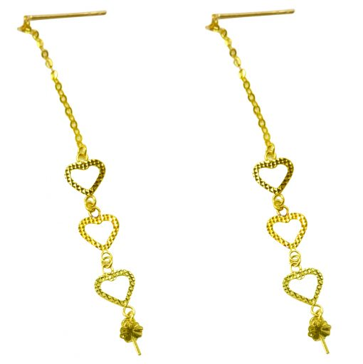 18k yellow gold pearl earrings etting 3 hearts