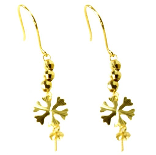 18K Solid Yellow Gold Leave Designed Dangling Pearl Earrings Settings
