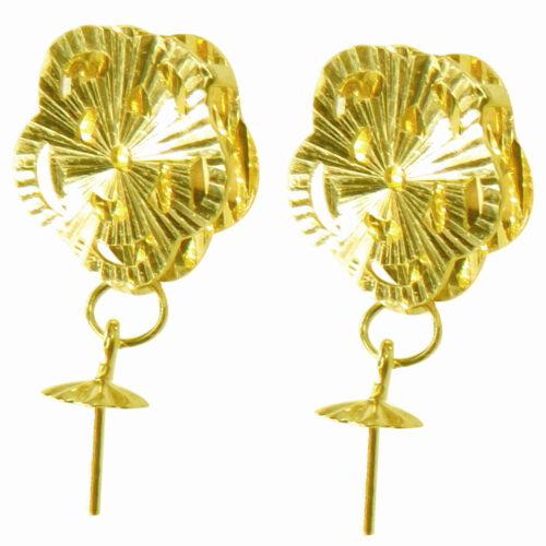 18k yellow gold pearl earrings etting