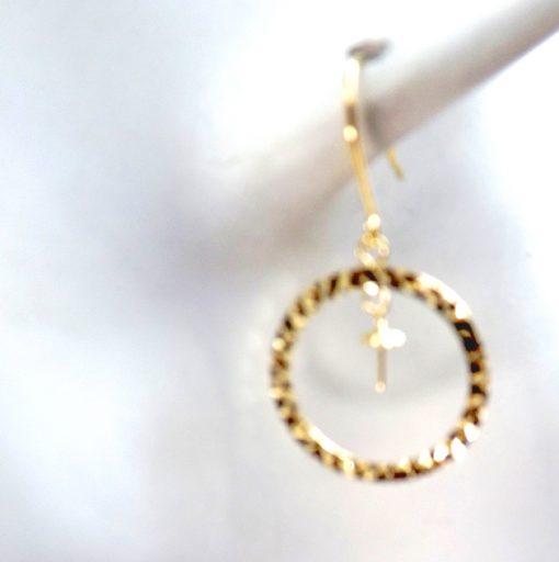 18k yellow gold large circle dangling pearl earrings setting