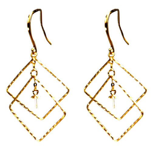 18K Yellow Gold Large Sized Contemporary Pearl Earrings settings