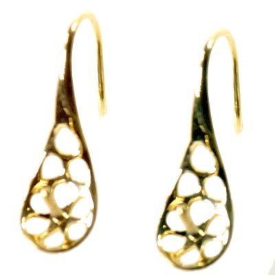 18K Solid Yellow Gold Dangling Pearl Earrings setting