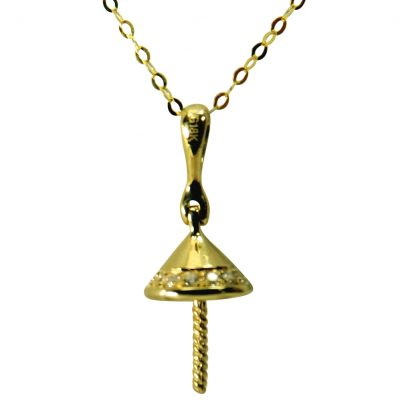 18k yellow gold diamond pearl pendant setting