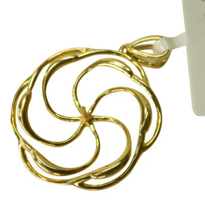 18k yellow gold pearl pendants setting