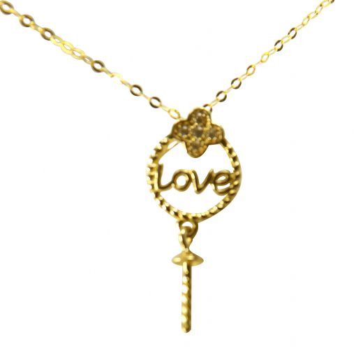 Love Writing 18k Yellow Gold Pendant Setting