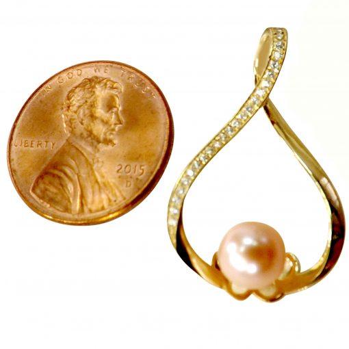 18k yellow gold pearl pendant