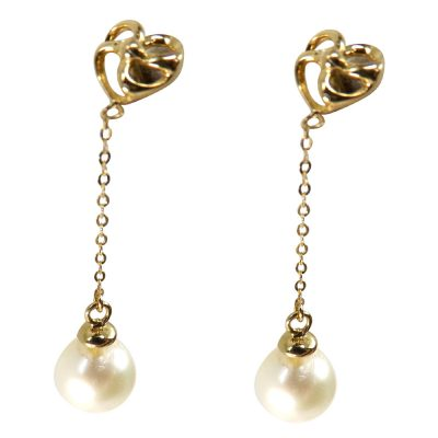 18k yellow gold pearl earrings dangling