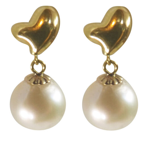 Heart Shaped 18k yellow gold pearl earrings