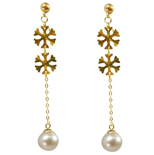 18k yellow gold pearl earrings