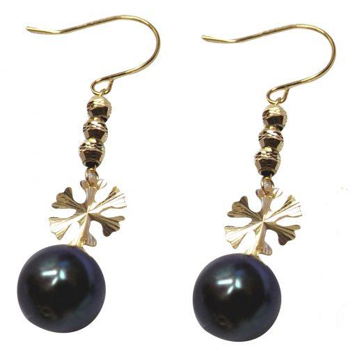 18ky gold pearl dangling earrings