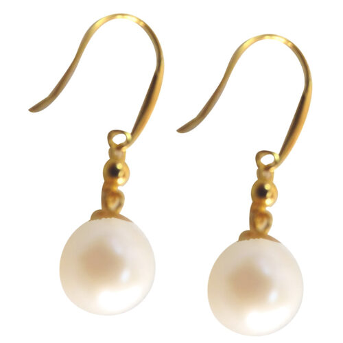 18k yellow gold pearl earrings
