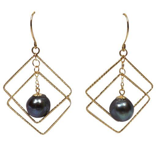 18ky gold dangling black pearl earrings