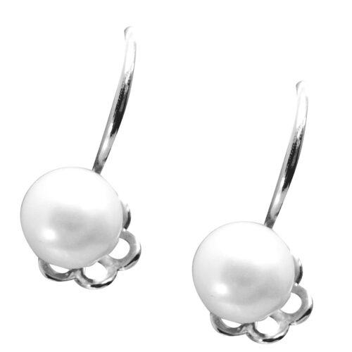 925 dangling silver white pearl earrings