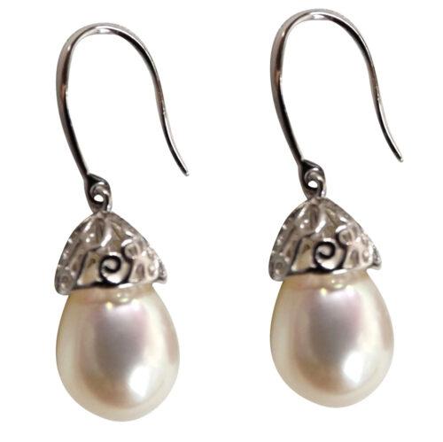 925 Sterling Silver Filigree Dangling Pearl Earrings