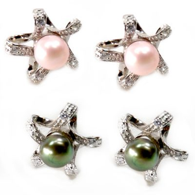 Star Shaped 925 sterling silver pearl earrings