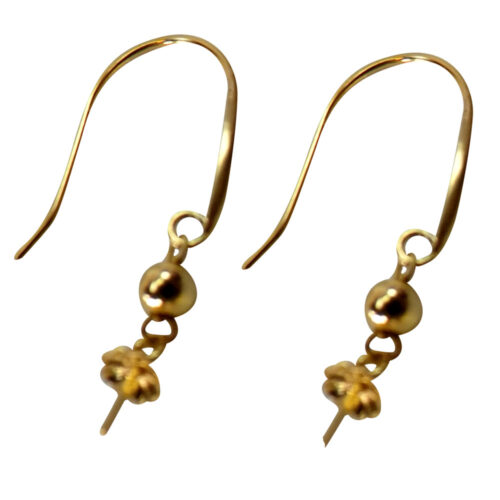 18k yellow gold pearl earring setting s