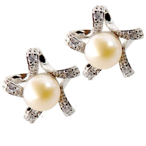 Large 925 Sterling Silver star shaped pearl earrings