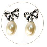 925 Sterling Silver Bow Tie Drop Shaped Pearl Earrings