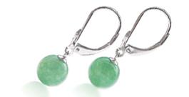 8-9mm Jade Silver Leverback Earrings in 925ss