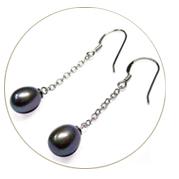Dangling Teardrop Pearl Earrings Silver 4 Colors of Pearls