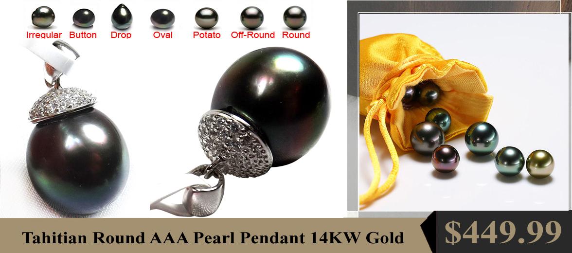 Large Tahitian Black High AAA Round Pearl Pendant