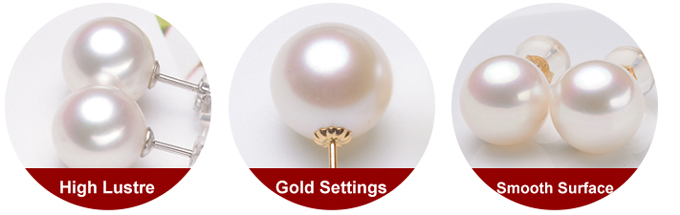 pearl earrings in solid gold