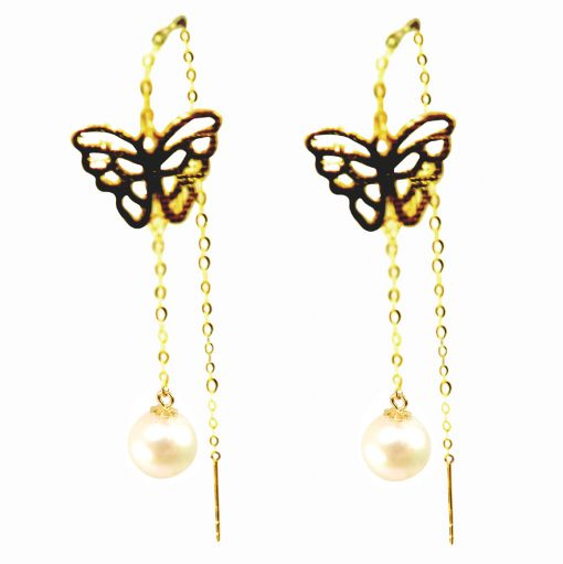 Butterfly Designed 18K Solid Yellow Gold Sliding Pearl Earrings