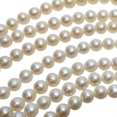 7-8mm white round pearl strands high AA+ quality