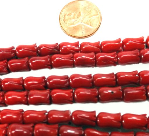 6x9mm Vase Shaped Red Coral Beads Strands