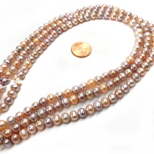 7-8mm pink and mauve round pearl strands high AA+ quality