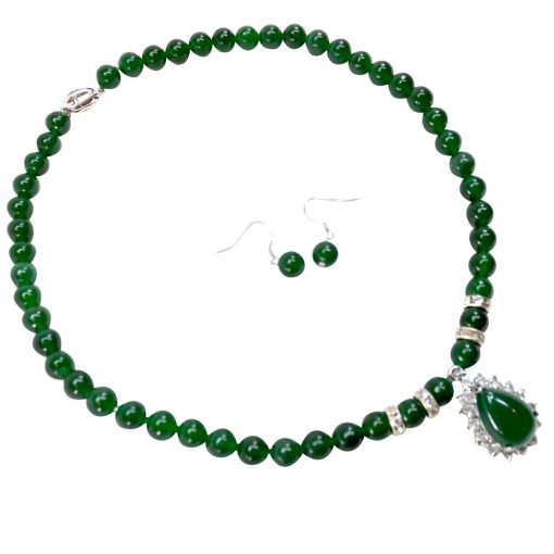 Jade necklace and earrings set of 2