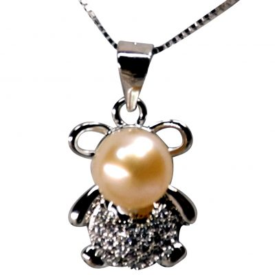 Cute Rabbit Pearl 925 Sterling Silver Necklace