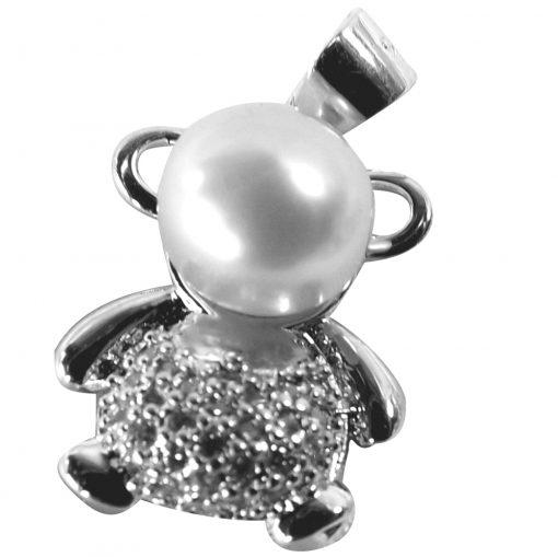 white pearl rabbit pendant