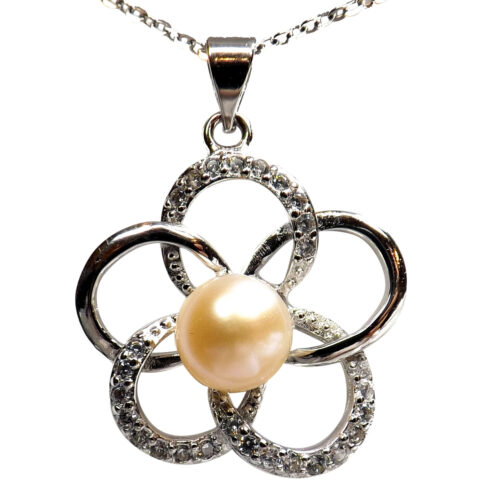 White flower shaped pearl pendant with cz diamonds