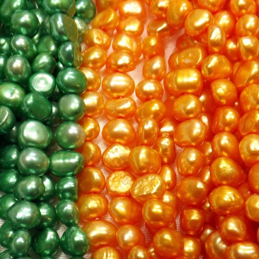 5-6mm orange and green colored baroque pearl strands