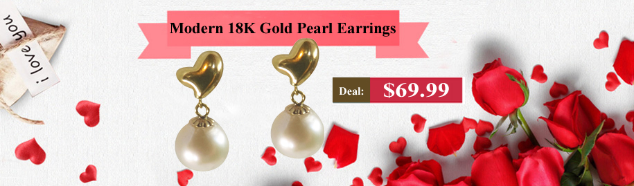 Modern 18K Yellow Gold Heart Shaped 7mm High Quality Round Pearl Earrings