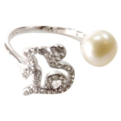Adjustable Micro-pave 925 Sterling Silver Pearl Ring