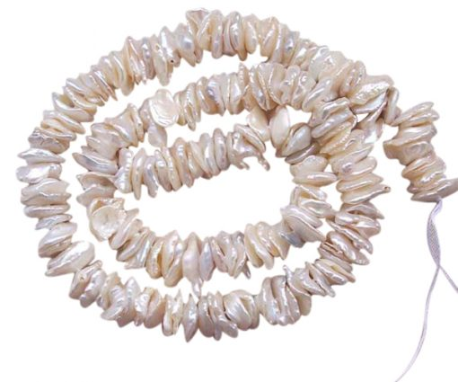 5-7mm Cornflake or Keshi Pearls on Temporary Strand Center Drilled