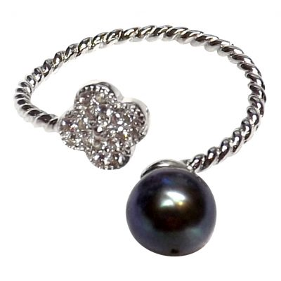 Cross black pearl silver ring