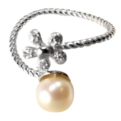 pearl sterling silver flower ring